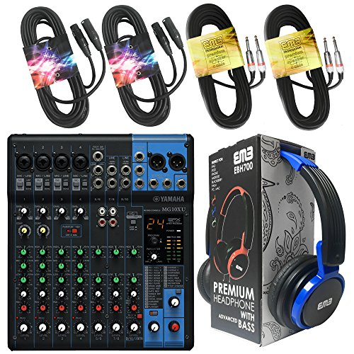 Yamaha Package Bundle - Yamaha MG10XU 10-channel Analog Mixer + EMB EBH700 Pro Preminum Wire Headphone + 2 XLR XLarge Cables + 2 1/4