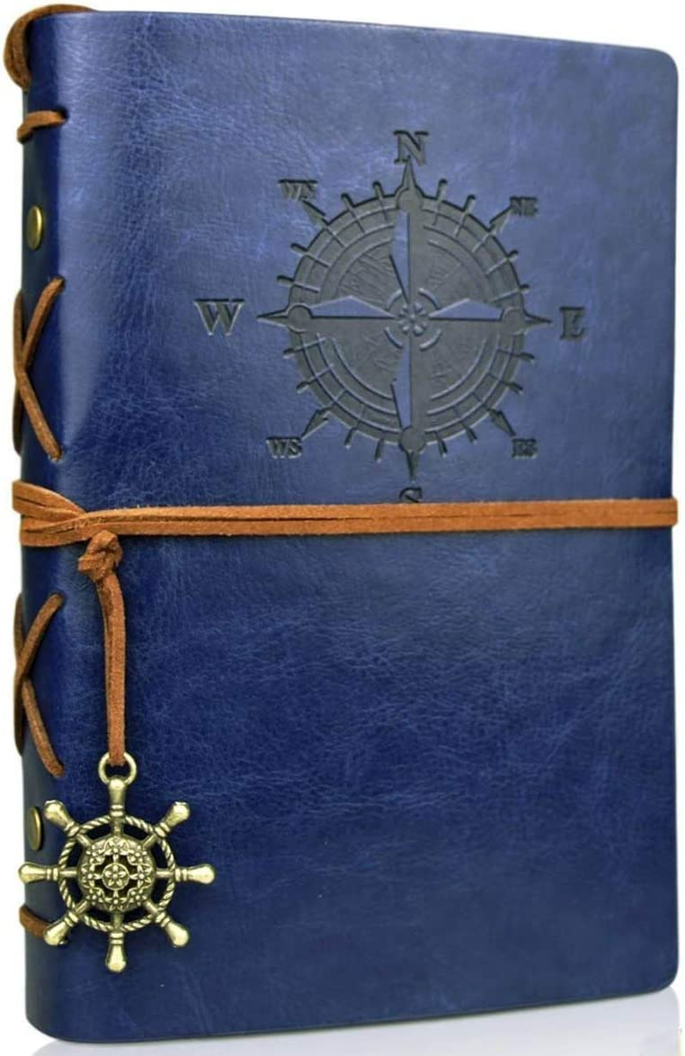 Vintage Leather Journal Travelers Notebook Refillable Journals Refillable Diary Planner Writing Notepad A6 Note Book for Men Women, No Lines, 7 x 5 inches, 80 Sheets/160 Pages(Dark Blue)