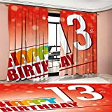 Mannwarehouse 13th Birthday Window Curtain Drape Retro Style Teenage Party Invitation Graphic Design with Bokeh Effect Rays Decorative Curtains For Living Room Multicolor