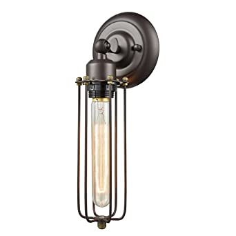 industrial cage lighting. yobo lighting industrial edison mini long wire cage oil rubbed bronze wall sconce w