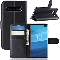 for Samsung Galaxy S10 Wallet Leather Card Holder Shockproof Protective Flip PU Case Cover for Samsung Galaxy S10 (Black)