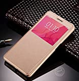 AE MOBILE ACCESSORIES AE (TM) Cover VIVO V3 MAX SVIEW Window Flip Leather Finish Textured Case Cover,Gold