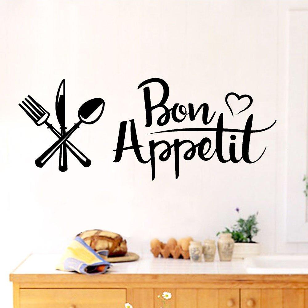 Psunrise Decoración Bon Appetit Removable Art Vinyl Mural Home Room Decor Wall Stickers