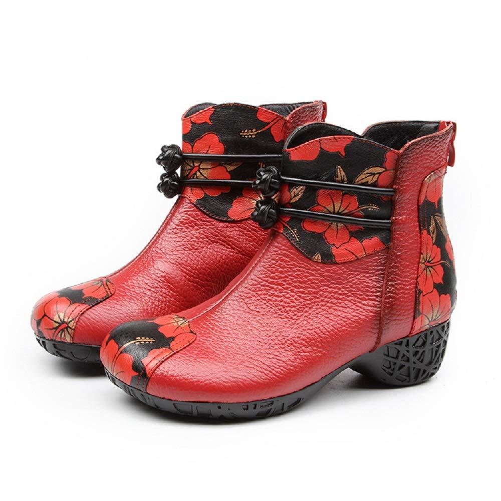 Gaslinyuan Lederstiefel Frauen Blaumendruck Block Zipper Schuhe (Farbe   Rot Größe   EU 36)