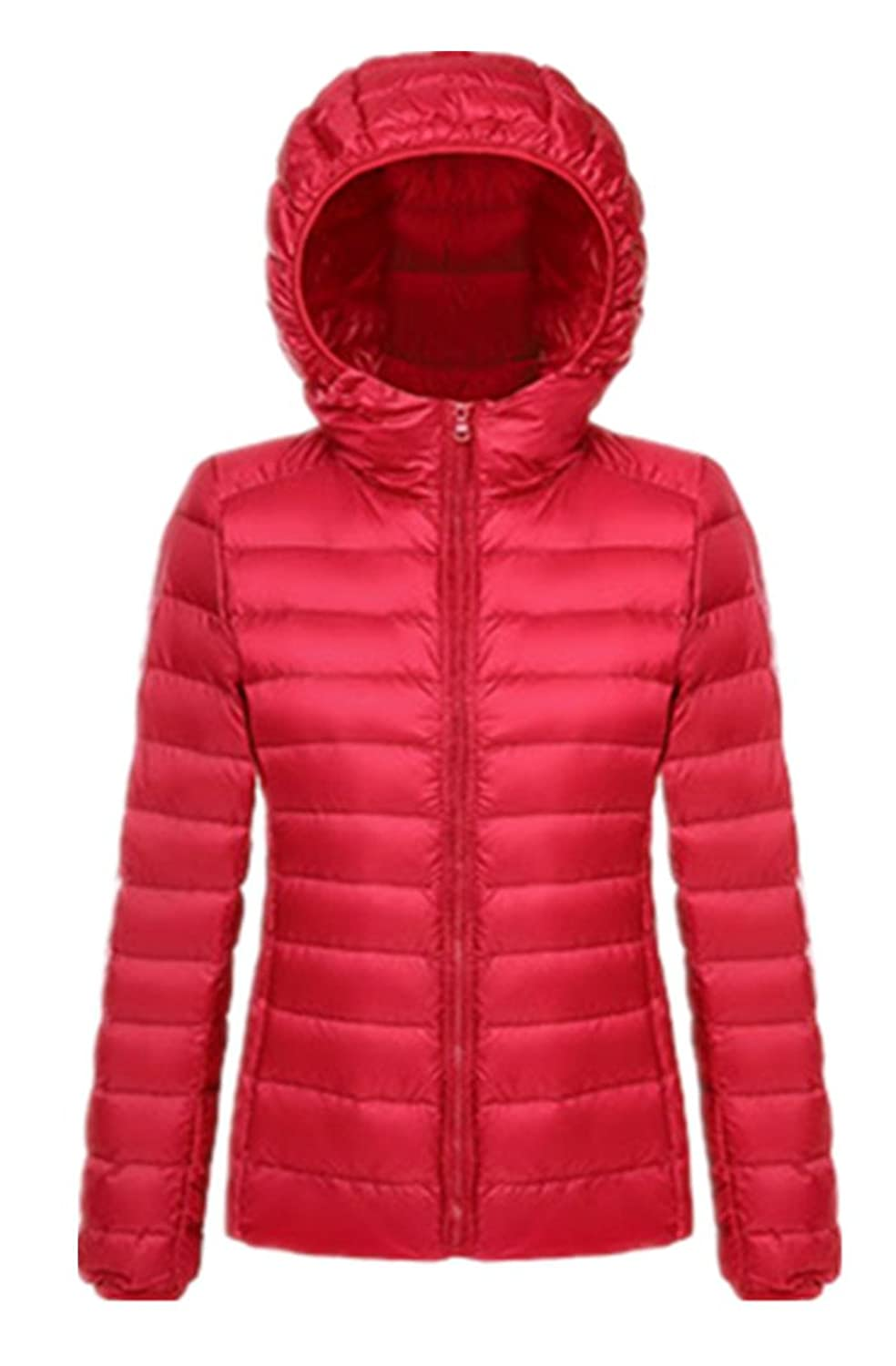 H.X Women's Light Weight Packable Short Down Jacket with Hood
