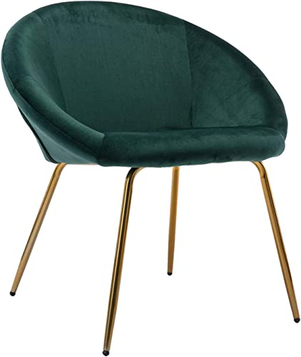 Zhenghao Accent Living Room Chair Modern Upholstered Velvet Lounge Chair Round Back Retro Vanity Chair with Brass Legs1pcs Atrovirens Green