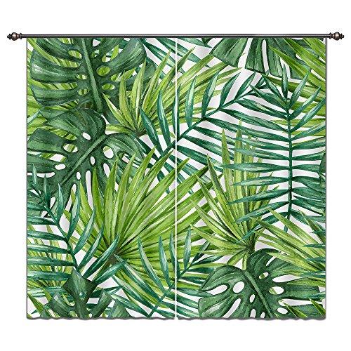 (LB Tropical Leaf Monstera Areca Palm Tree Leaf House Decor Window Curtain, Jungle Rainforest Scenery, Machine Washable Window Treatment Panels, 55x65 Inches (2 Panels Size), Green)