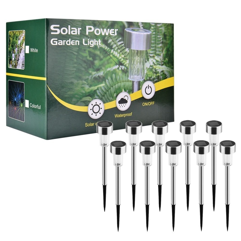 Solar Lights Outdoor Colour Changing Waterproof 10 Pack Walkway Pathway Solar Lights Garden Colour Changing Solar Powered (10-Pack Colorful Solar Light) [Energy Class A+] AUSHEN