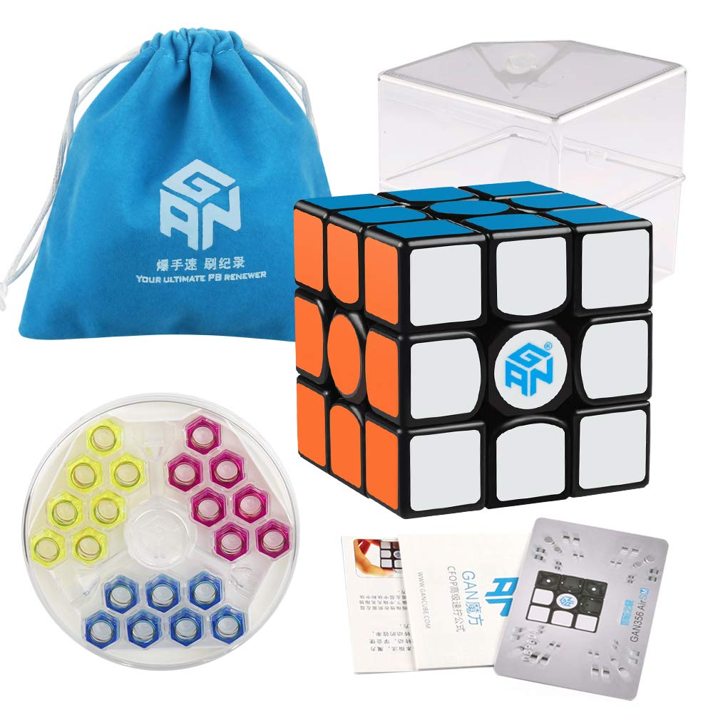 Coogam Gans 356 Air SM Speed Cube 3x3 Black Gan 356Air S Magnetic Puzzle Cube Gan356 with New GES V3 Spring (2019 Upgraded Version) by Coogam