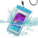 Premium Waterproof Water Resistant Sports Lightning Carrying Case Bag Pouch for Motorola Moto Z Force, G4, G4 Plus, DROID MAXX 2, DROID Turbo 2 (w/ Lanyard) (Light Blue) + MND Mini Stylus