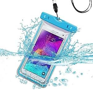 Premium impermeable deportes natación resistente al agua resistente al agua Lightning funda de transporte bolso de la bolsa para Samsung Galaxy Grand Prime G530/g5308/G530H (con cordón) (azul claro) + MYNETDEALS Mini pantalla táctil lápiz capacitivo