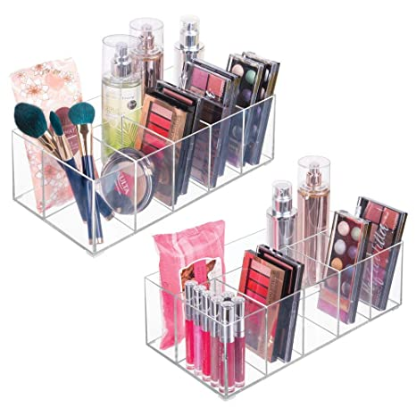 mDesign Organizador de maquillaje ? Caja transparente con 6 compartimentos - Ideal para guardar maquillaje, cosméticos y productos de belleza ? ...