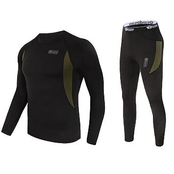 UNIQUEBELLA Suit Esquí Térmica Ropa Interior Térmica Manga Larga Camiseta + Térmica Pantalones Largos, Deportes