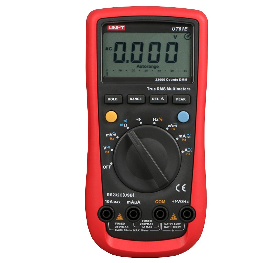 UKCOCO UNI-T UT61E AC/DC Professional Digital Multimeter High Accuracy Meter Auto Range Ampere Meter Voltage Tester 11999 Counts Data Hold (Battery Not Included)