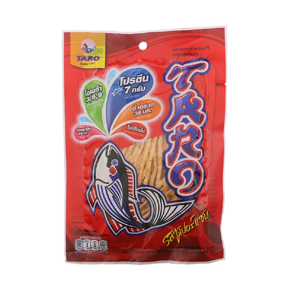 TARO Fish Snack, Seafood Snack, Hot Chilli Flavor 30g X 6 Packs