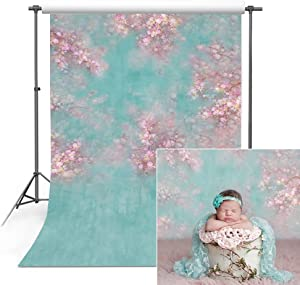 COMOPHOTO Newborn Backdrops for Photography 5x7ft Seamless Polyester Flower Photo Booth Backdrop for Pictures