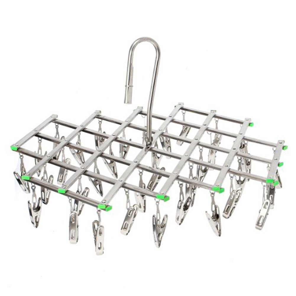Stainless Steel Drying Rack with 35 Clips, Space Saver Drip Hanger, Drying Pegs Hook for Laundry, Clothes, Socks, Underwear etc