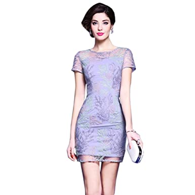 cotyledon Formal Gown Dresses for Women Round Neck Short Sleeve Slim fit Cocktail Dresses