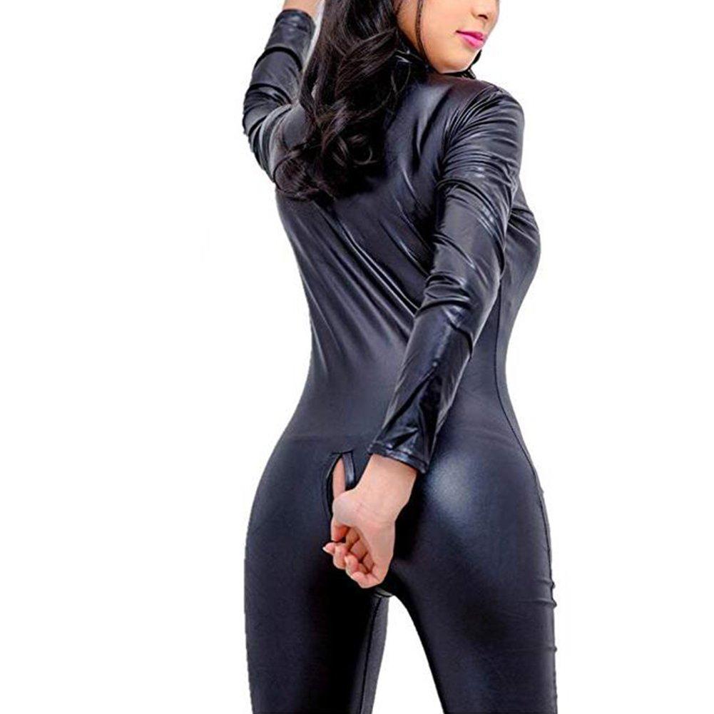 Women's Shiny Liquid Metallic Wet Look Zipper Front Catsuit Open Cup Crotchless Bodysuit Stretch Jumpsuit FJLOVE