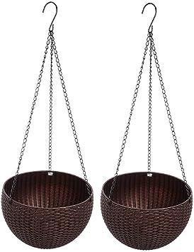 4x Brown Plastic Self Watering Hanging Planter Basket Garden Flower Plant Pots