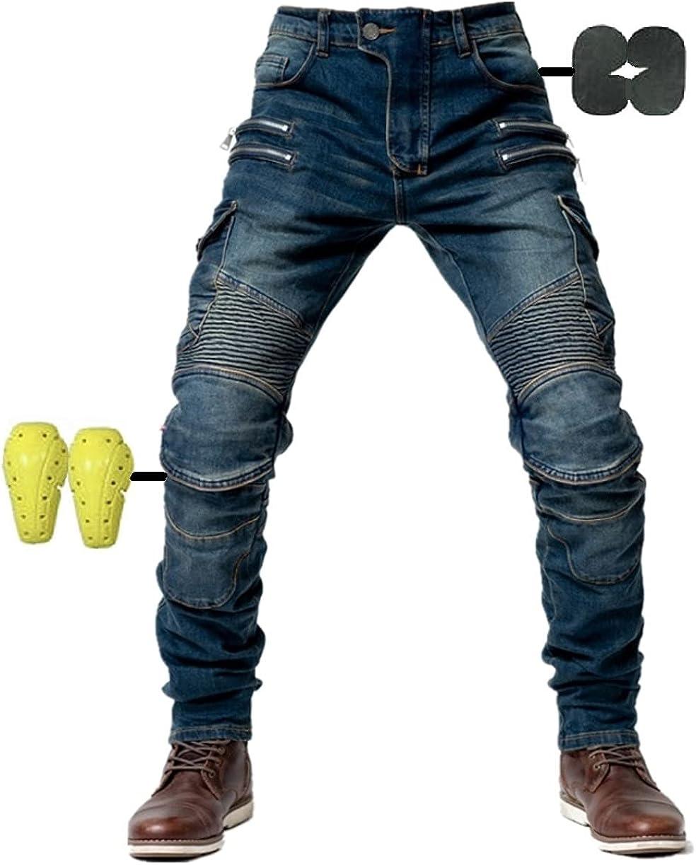 Hombres Pantalones De Motociclismo para Pantalones De Carreras De Motocross con Pantalones Anti Caída,Jeans de Moto, 4 x Equipo de protección
