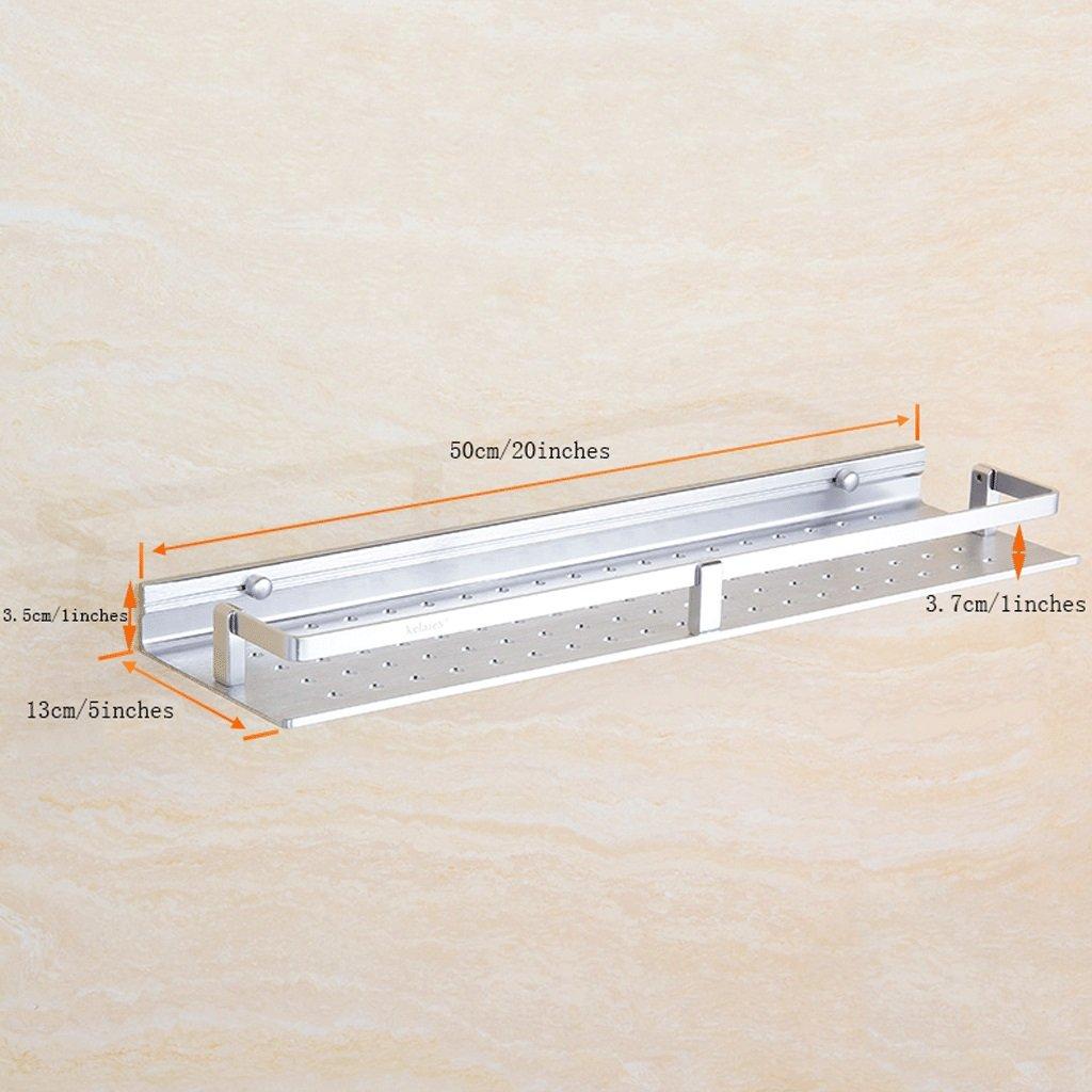 YXN Space Aluminum Bathroom Frame Bathroom Square Metal Pendant Bathroom Single Floor Bathroom Storage Rack (Size : 50cm)