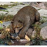 Wildlife Bear Hunt Lakeside Pool Statue Sculpture Figurine