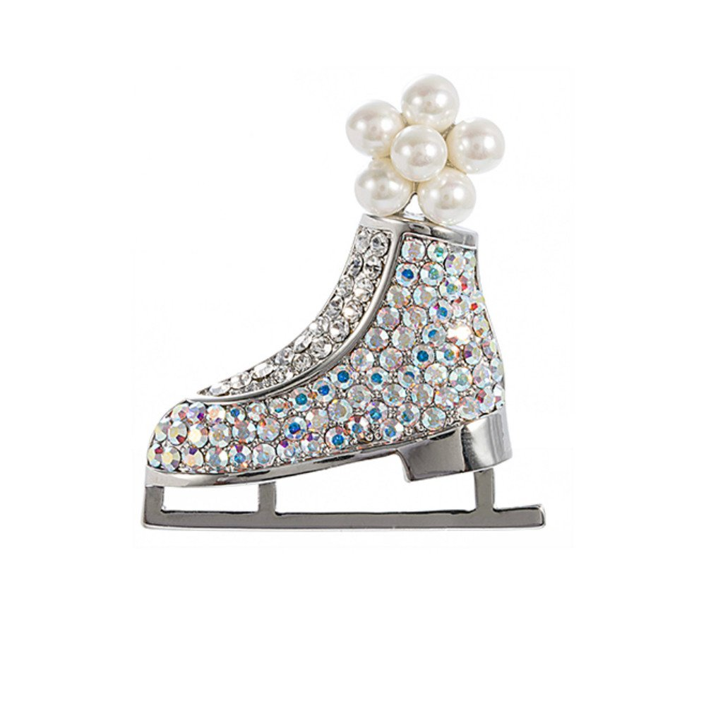 Brooch Pins ,For Women Christmas Gifts Colored Rhinestones Sled Skates Imitation Pearl Brooch