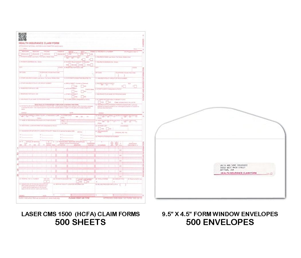 CMS-1500 (HCFA) Laser Medical Claim Forms with 9-1/2'' x 4-1/2'' Self-Seal G-38 Window Envelopes - Combo Bundle of 500 Each (Forms & Envelopes)