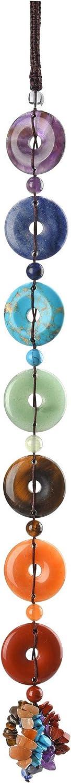 Jovivi Chakra Hanging Ornament Set - 7 Chakra Tumbled & Round Circle Peace Donut Gemstones Chakra Swirl Tassel Spiritual Meditation Yoga Decor/Window Ornament/Feng Shui Gifts
