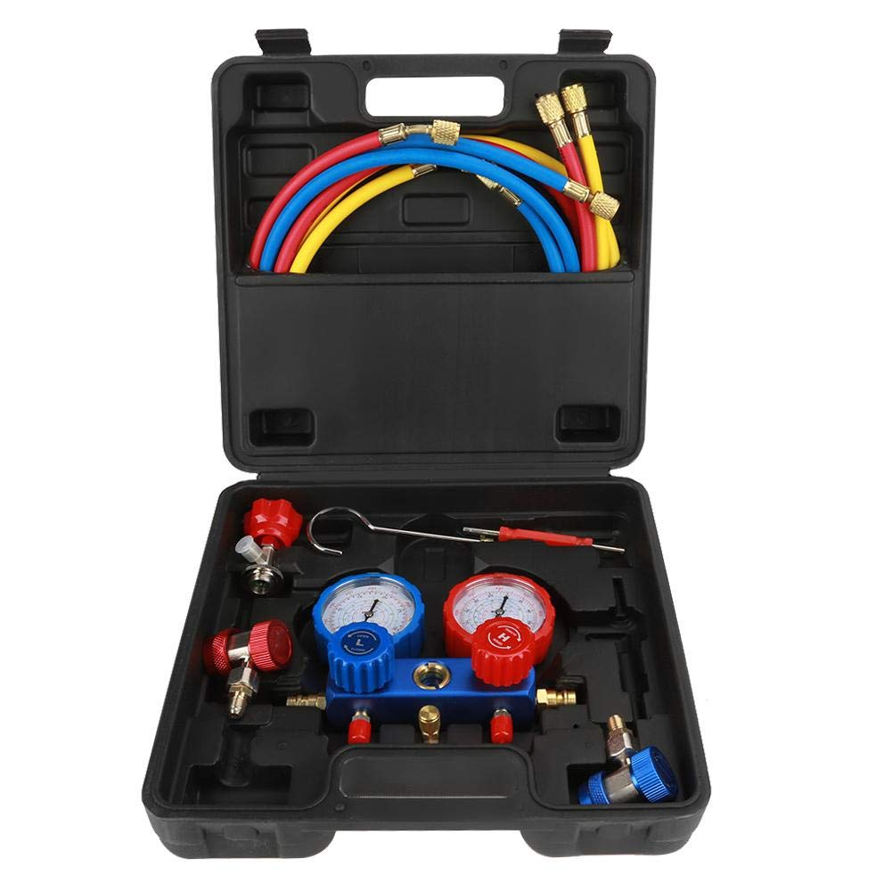 Manifold Dual Gauges Kit, R134a Air Conditioning Refrigerant Manifold Gauge Set with 1.5m Charging Hoses, Air Conditioning Diagnostic Equipment by Hongzer