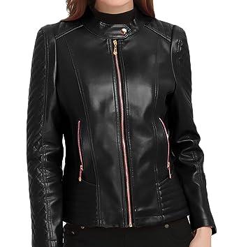 29fa829b82 Pivaconis Womens Plus Size Faux Leather Full-Zip Moto Biker Short Jacket  Coats at Amazon Women s Coats Shop