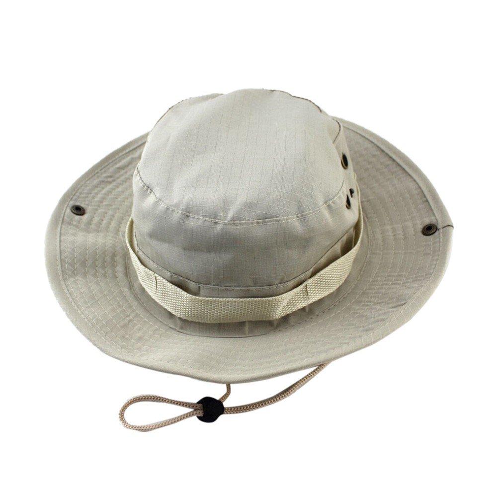 QIGUANDZ Men's Fisherman Sun Hat UV Protection Outdoor Hiking Fishing Washed Cotton Hat Beige