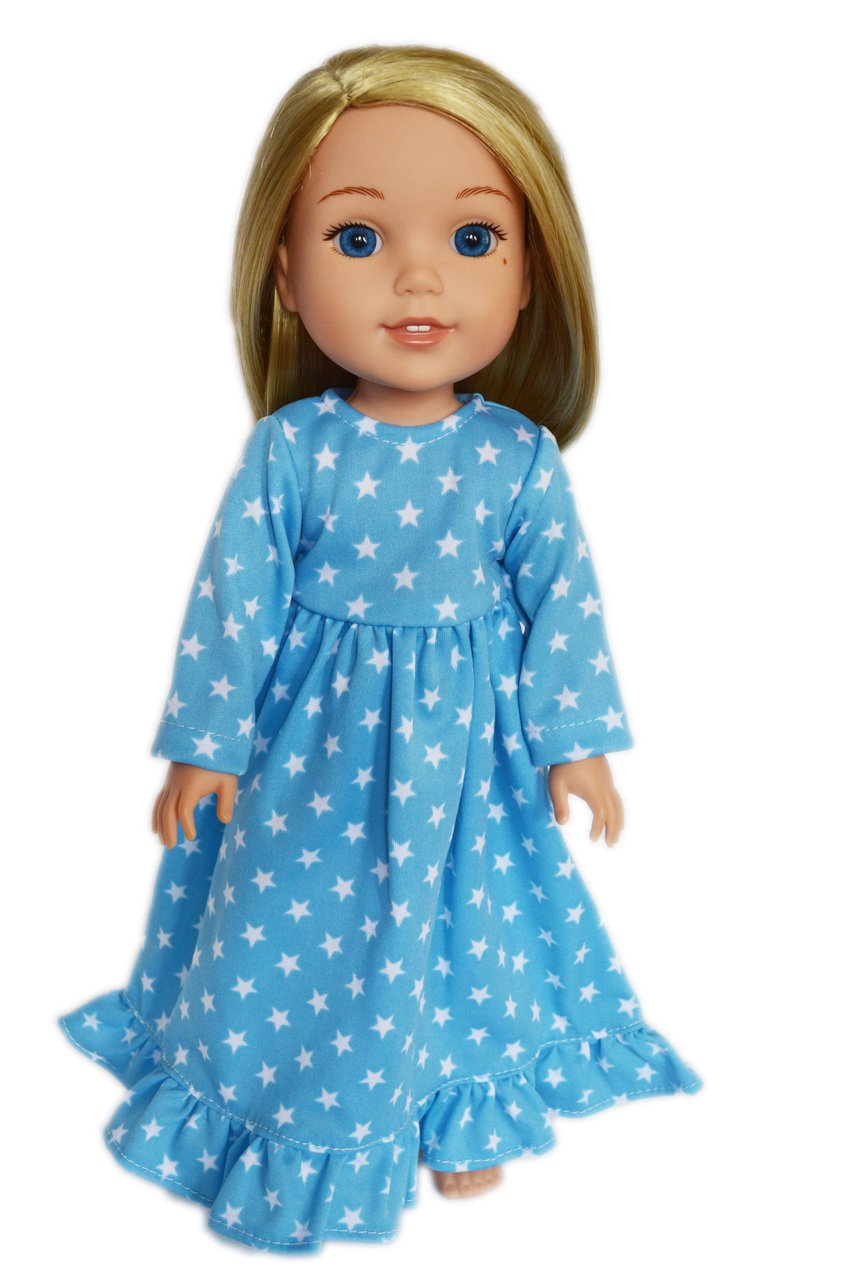 Blue Star Nightgown for American Girl Dolls Wellie Wishers, Hearts for Hearts Dolls and Glitter Girls Dolls- 14 Inch Doll Clothes Brittany' s