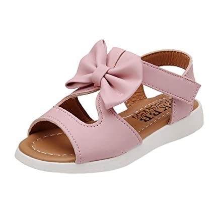 Topgrowth Sandali per Bambina Eleganti Sandali Punta Aperta Sandali Romani Ragazze Velcro Sandali Bimba Partito Principessa Scarpe (22, Rosa Caldo)