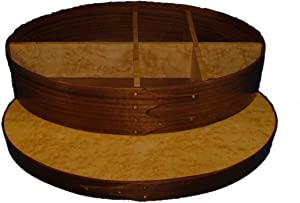 Shaker Sewing Button Box Extra Large with Walnut Bands and Birdseye Maple Top; Lacquer Finish