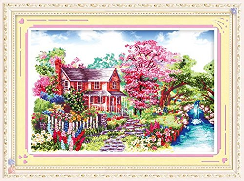 Aureate Handmade Silk Ribbon Embroidery Kits Canvas 3D Wall Art Home Decoration DIY Needlepoint Tapestry Hanging Gift Floral Floral Pastoral 18×25