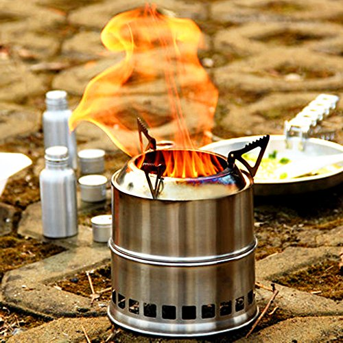 EIALA Potable Stainless Steel Wood Burning Camping Stove,Solidified Alcohol Stove Outdoor Cooking Picnic BBQ Camping