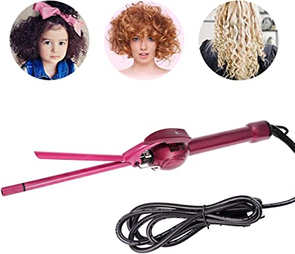 Mini rizador de 9 mm, rizador de pelo afro, rizador de cabello de cerámica de turmalina para cabello corto y largo, unisex, para hombres y mujeres, niños, enchufe de la UE: Amazon.es: