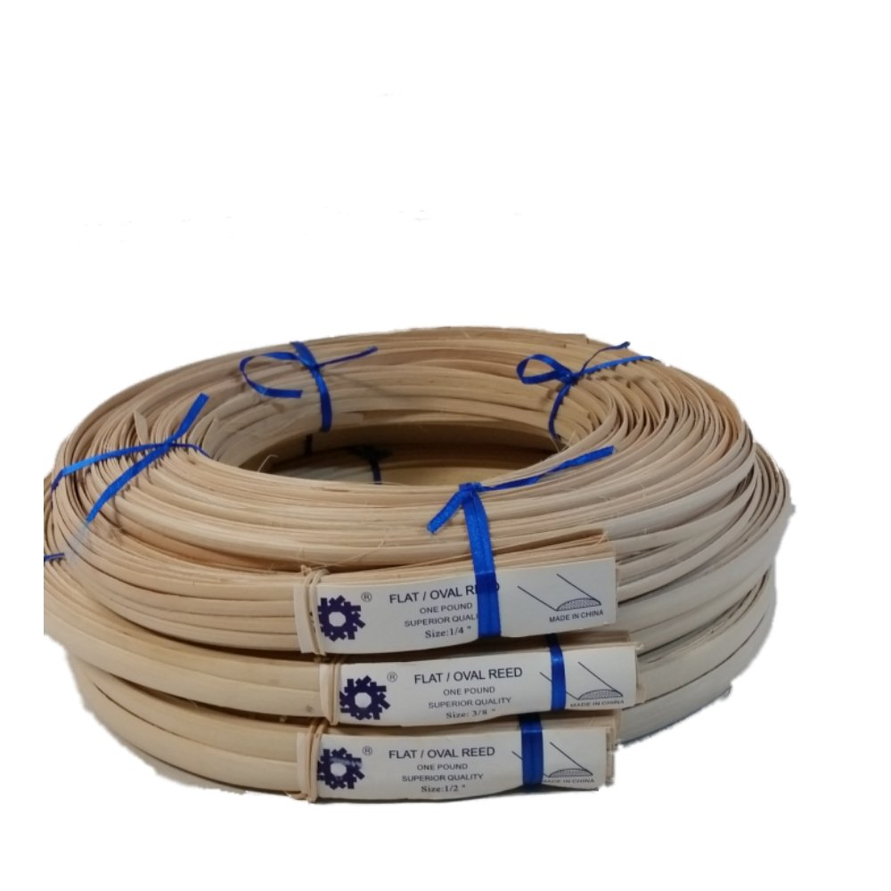 1 Pound Coil of Flat Oval Reed, Natural Color, Any Width, 1/4