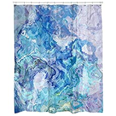 Modern Abstract Art Shower Curtain In Aqua And Blue Cloud Nine