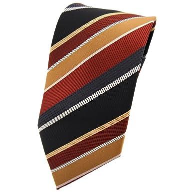 TigerTie - Corbata - marrón cobre negro plata oro rayas: Amazon.es ...