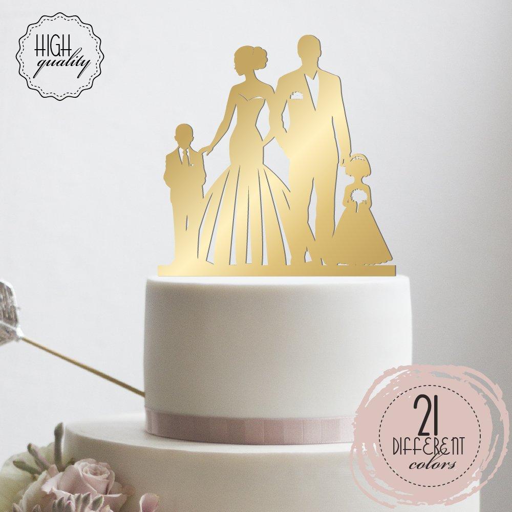 Amazon.com: Bride & Groom With Kids Wedding Cake Topper Mr Mrs Cake ...