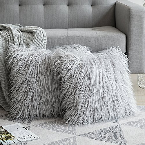- MIULEE Pack of 2 Decorative New Luxury Series Style Light Gery Faux Fur Throw Pillow Case Cushion Cover for Sofa Bedroom Car 18 x 18 Inch 45 x 45 cm