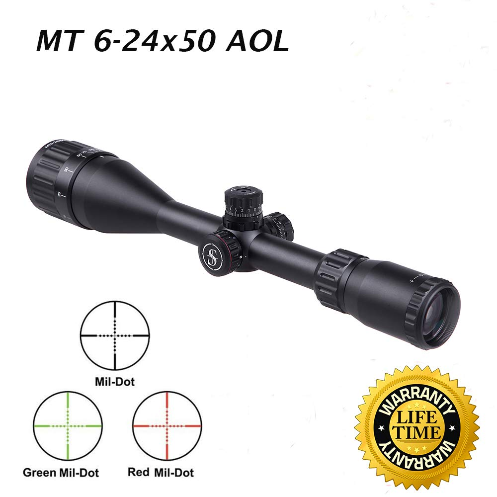 Sniper MT6-24X50AOL Hunting Rifle Scope Red Green Illuminated Mil Dot Reticle Fully Multi-Coated Lens Wind and Elevation Adjust Front AO Adjust for fine Tuning 3 Sunshade