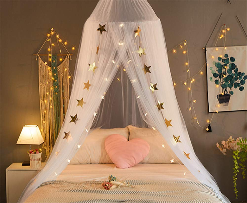 EVDAY Romantic Princess Style White Bed Canopy with Lights for Girls Kids Play Tent Hanging Mosquito Net Curtain for Kids Room Decoration by EVDAY (Image #2)