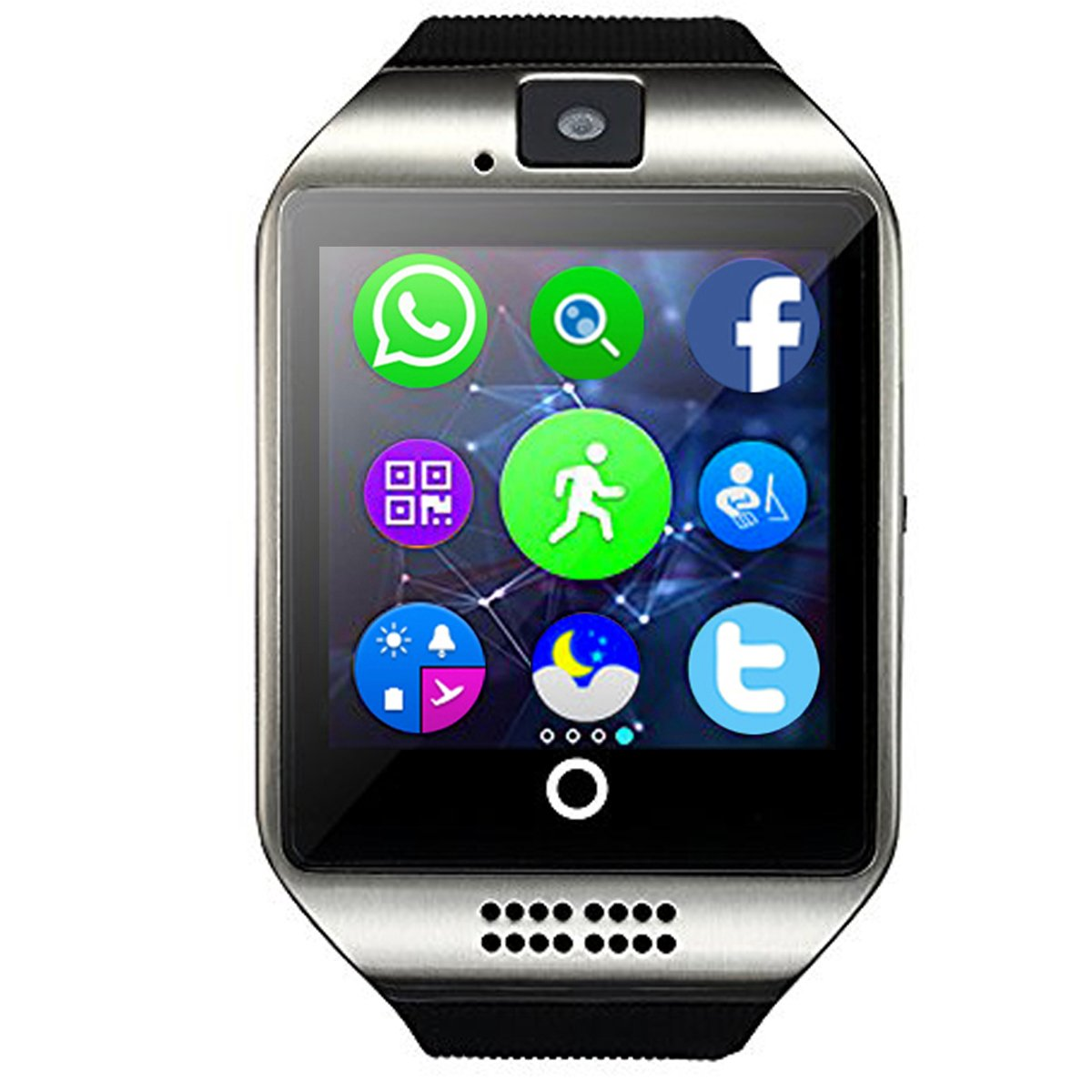 Smart Watch,YOKEYS Touch Screen Bluetooth WristWatch Fitness Watch with Camera SIM Card Slot/ analysis/Sleep Monitoring for Android (Full Functions) and IOS (Partial Functions) Men Women (Q Silver)