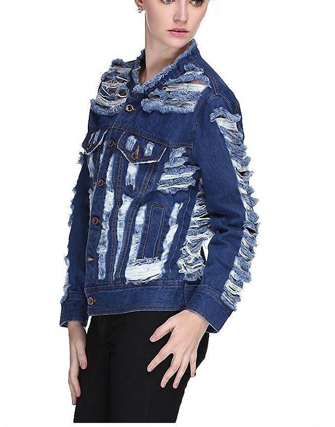 Abrigos Mujer Hole Ripped Casual Coats Dames Jassen Jeans Jacket Women No1 at Amazon Womens Coats Shop