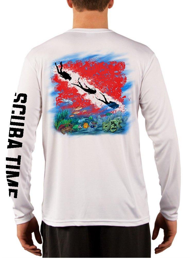 GAMEFISH USA Men's UPF 50 Long Sleeve Microfiber Moisture Wicking Performance Fishing Shirt Scuba Diving 2X-Large White by GAMEFISH USA