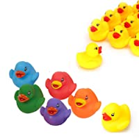 D.A.Y. Republic 12 Bathtime Upright Floating and Squirting Matte Vinyl Rubber Ducks Baby Bath Time Toys Multi Coloured Colourful Duckies in Two Display Tubes